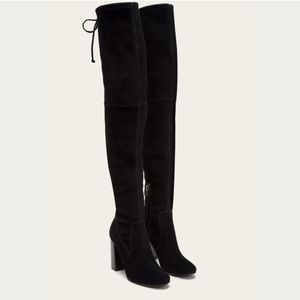 Frye Mina Stretch Thigh OTK Boots Black Suede Sz 7